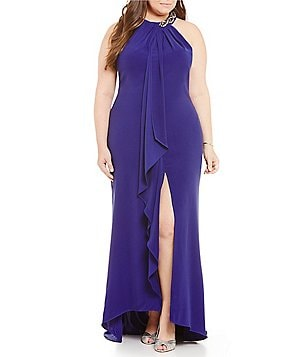 Ignite Evenings Plus Embellished-Neck Sleeveless Draped Ruffle Halter Gown