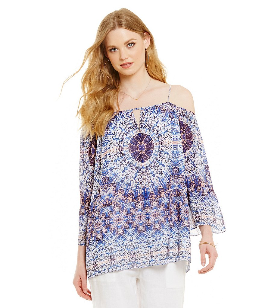 Cremieux Heather Printed Cold-Shoulder Blouse