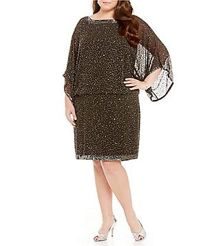 Jkara Plus Kimono-Sleeve Beaded Blouson Dress