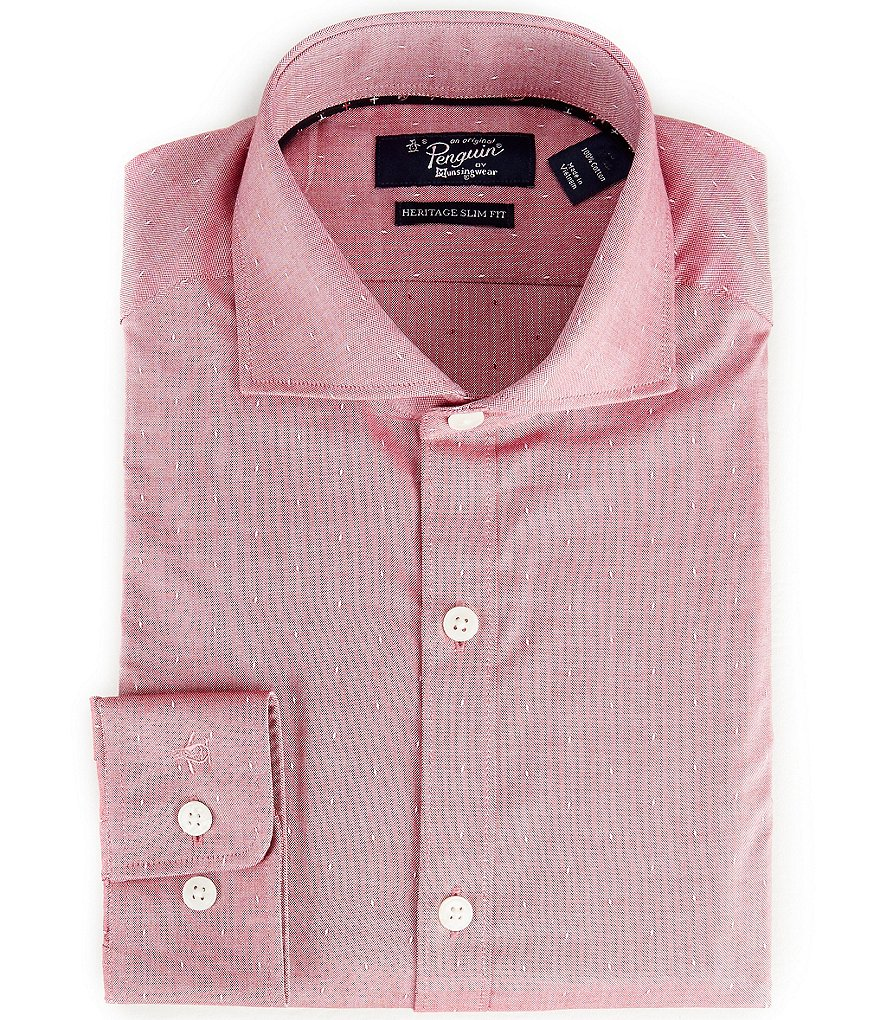 Original Penguin Heritage Slim-Fit Cutaway-Collar Oxford Dobby Pattern Dress Shirt