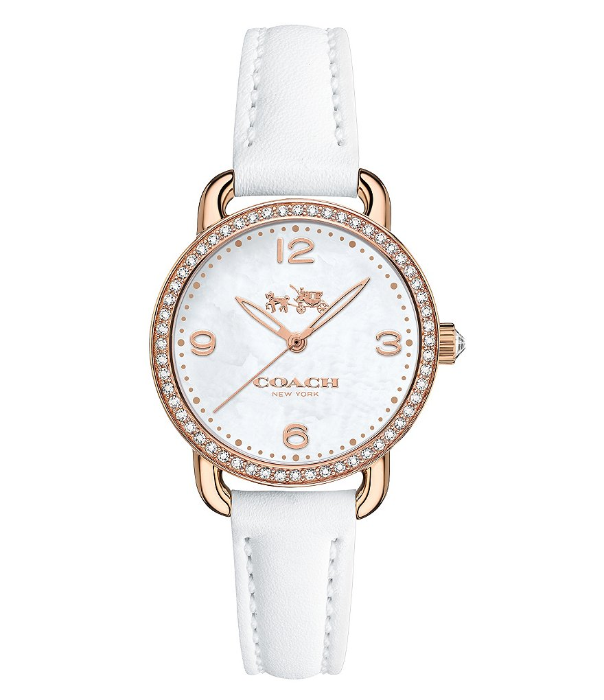 COACH DELANCEY ROSE GOLD PLATED WHITE LEATHER STRAP WATCH