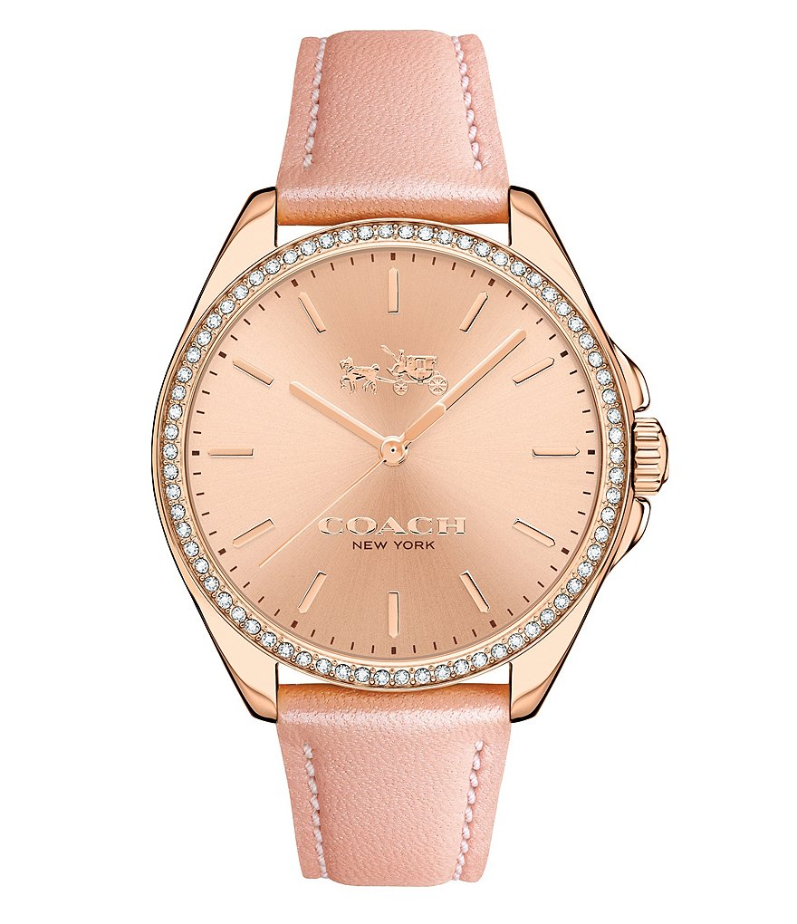 COAC TRISTEN ROSE GOLD PLATED BLUSH STRAP WATCH