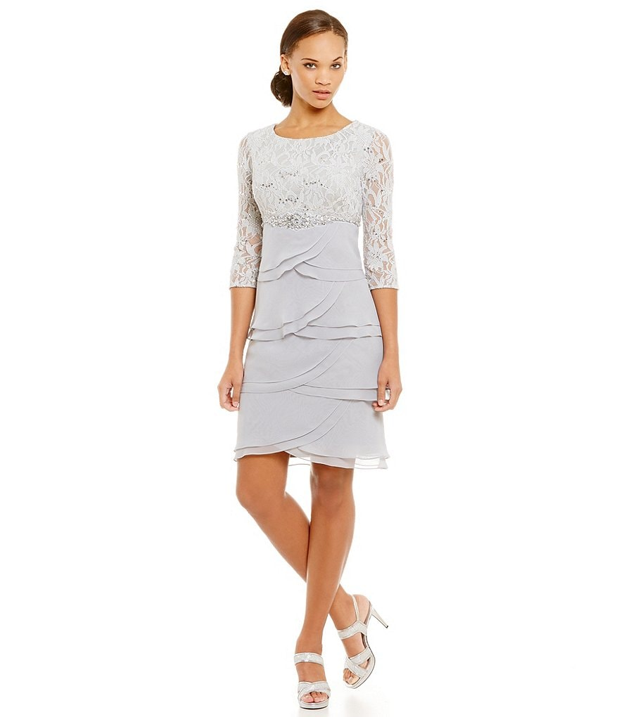 Jessica Howard Sequin Lace Top with Artichoke Skirt Dress