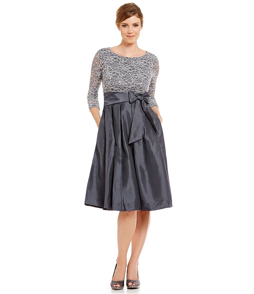 Jessica Howard 3/4 Sleeve Tie-Waist Party Dress