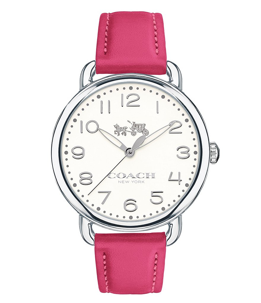 COACH DELANCEY STAINLESS STEEL DAHLIA LEATHER STRAP WATCH
