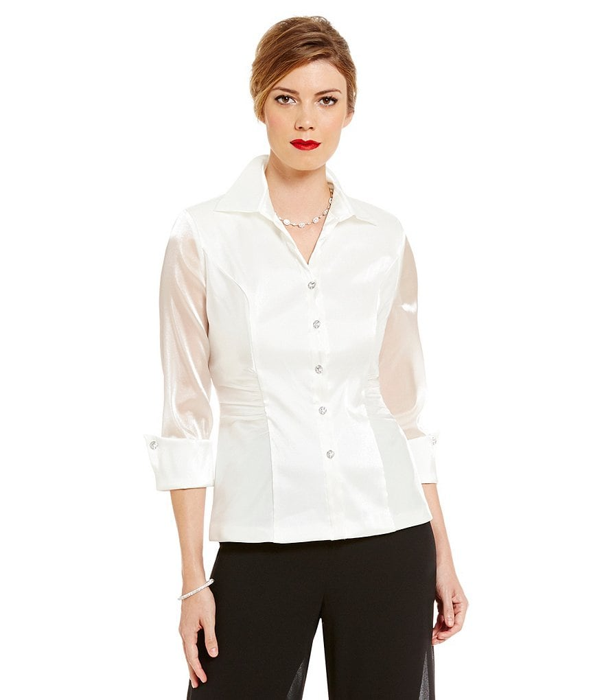 Alex Evenings Ruched Button-Front Blouse