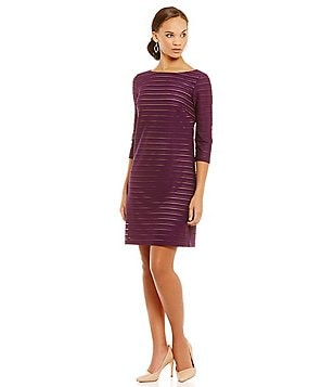 Jessica Howard 3/4 Sleeve Burnout Fabric Shift Dress