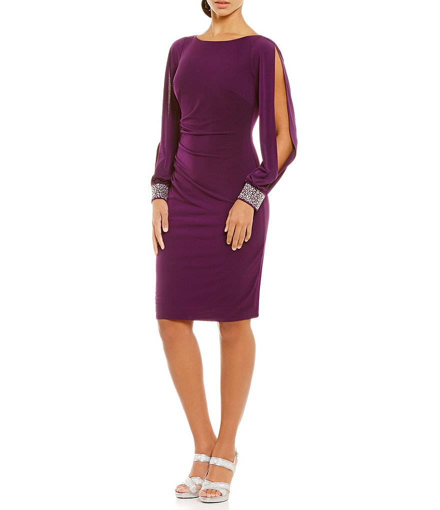 Jessica Howard Beaded Cuff Sheath Dress