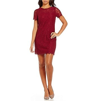 London Times Short Sleeve Lace Shift Dress