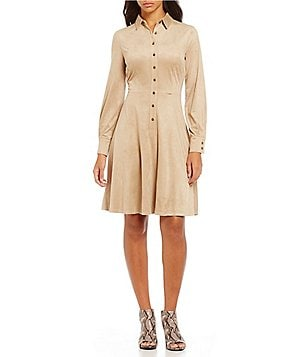 London Times Faux Suede Button-Down Shirt Dress