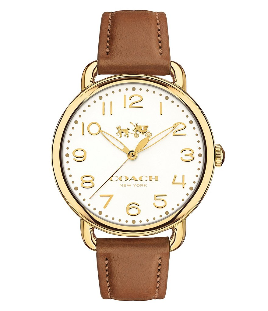 COACH DELANCEY STAINLESS STEEL BROWN LEATHER STRAP WATCH
