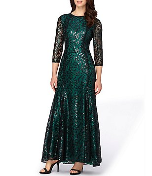Tahari ASL Sequin Lace 3/4 Sleeve Gown