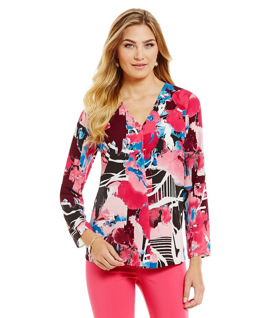 Preston & York Faith Long Sleeve Floral Blouse