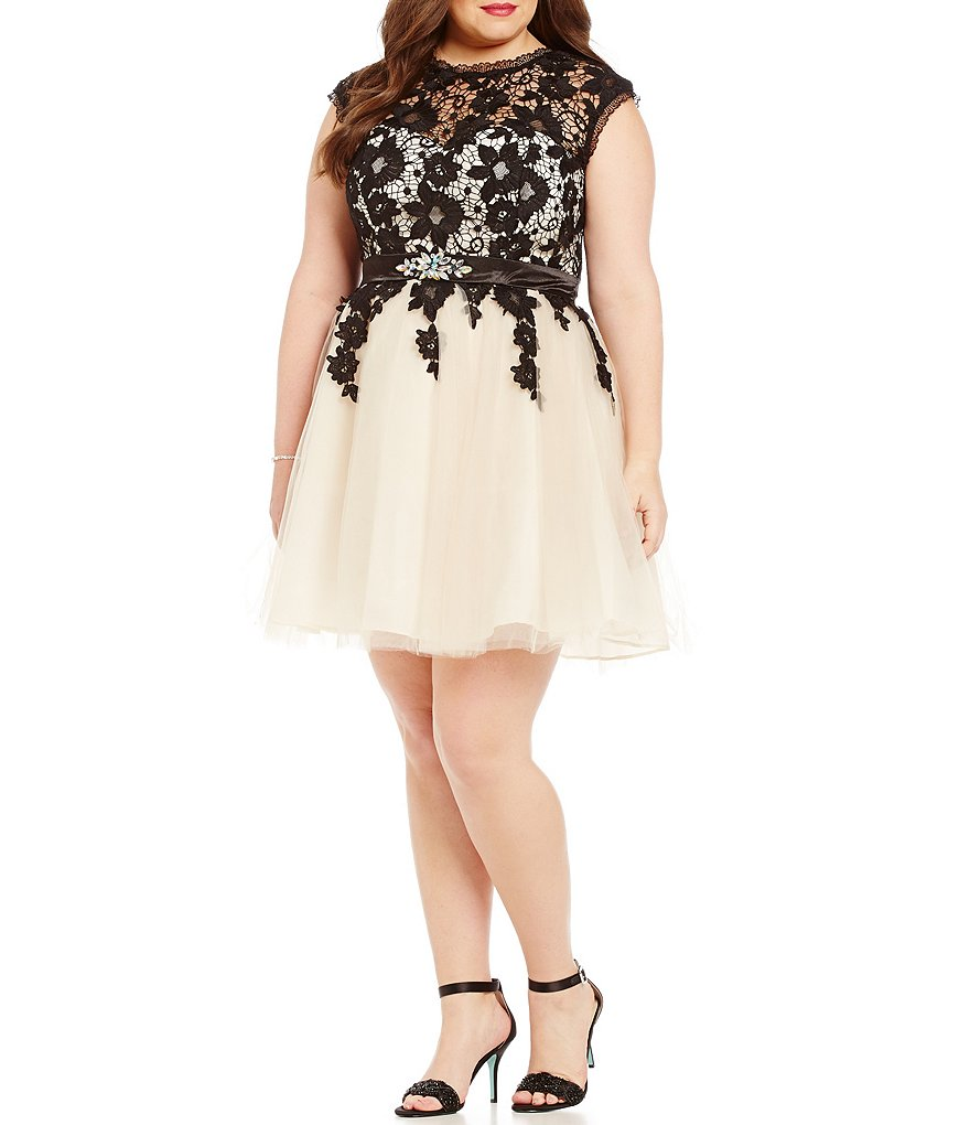 Masquerade Plus Lace Overlay Bodice Party Dress