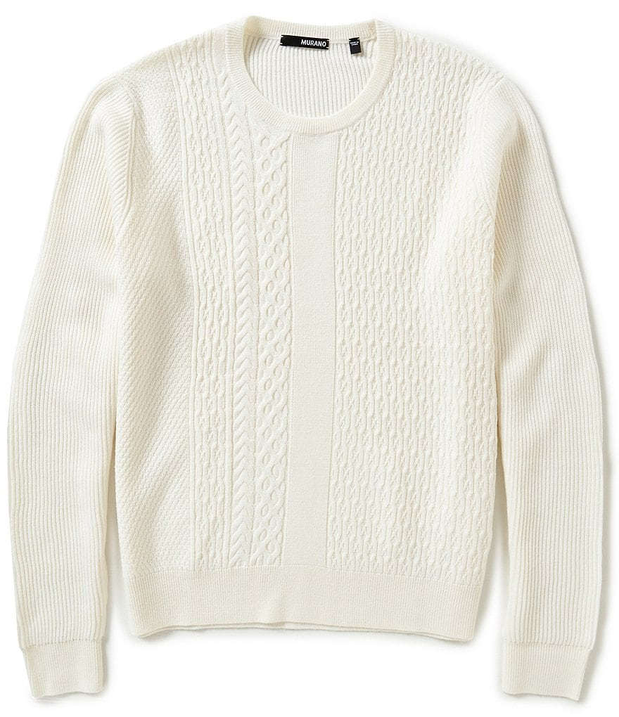 Murano Manhattan Collection Textured Crew-Neck Cable-Knit Sweater