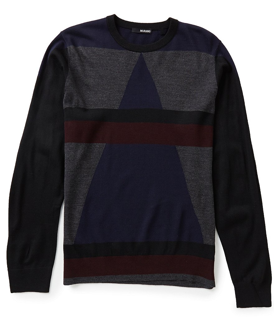Murano Manhattan Collection Crew-Neck Color Block Sweater
