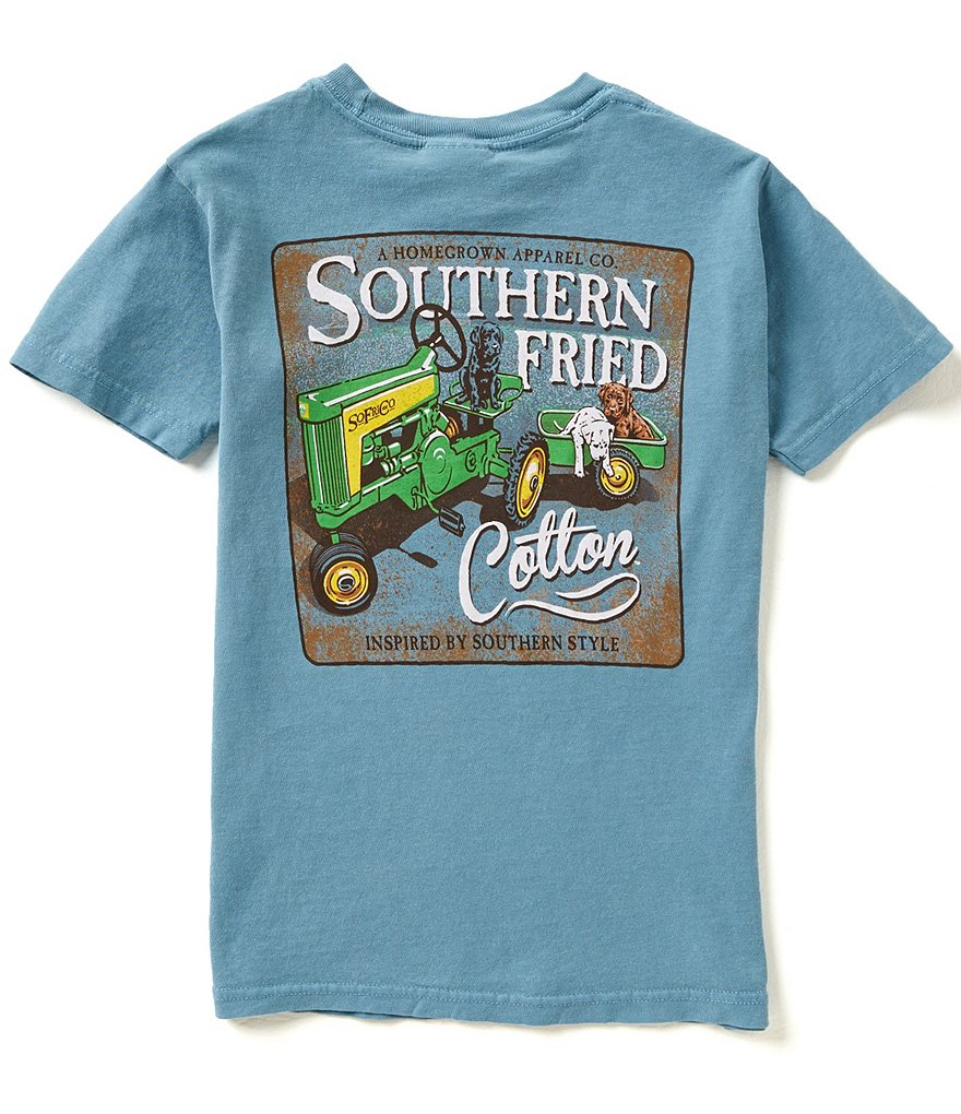 Southern Fried Cotton Big Boys 8-20 Green Tractor Short-Sleeve Tee