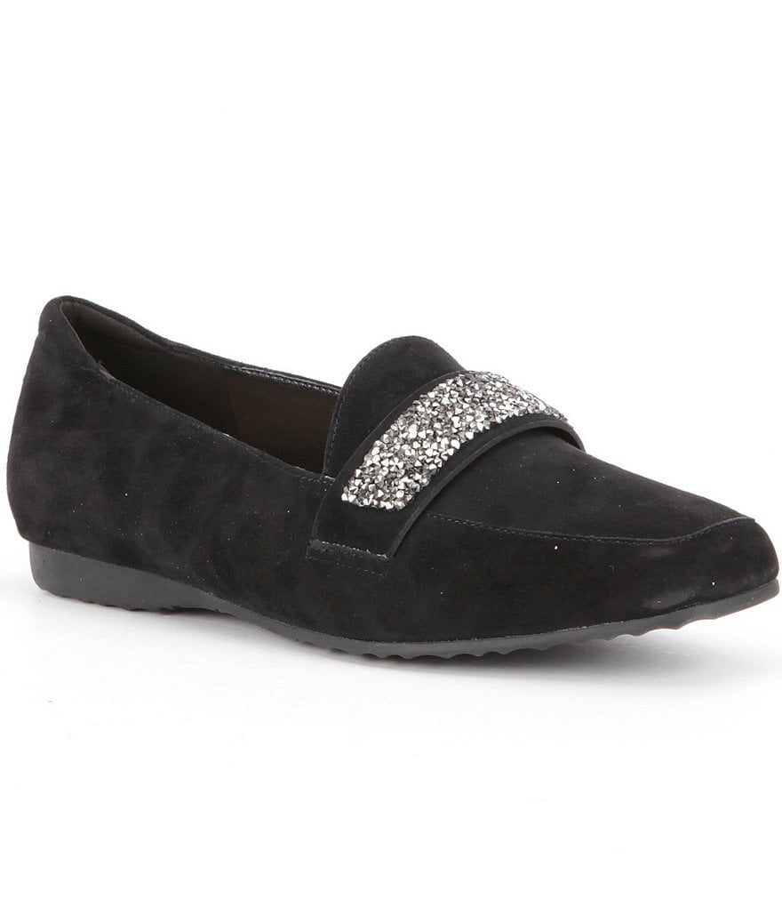 KARL LAGERFELD PARIS Quincey Rhinestone Band Suede Loafers