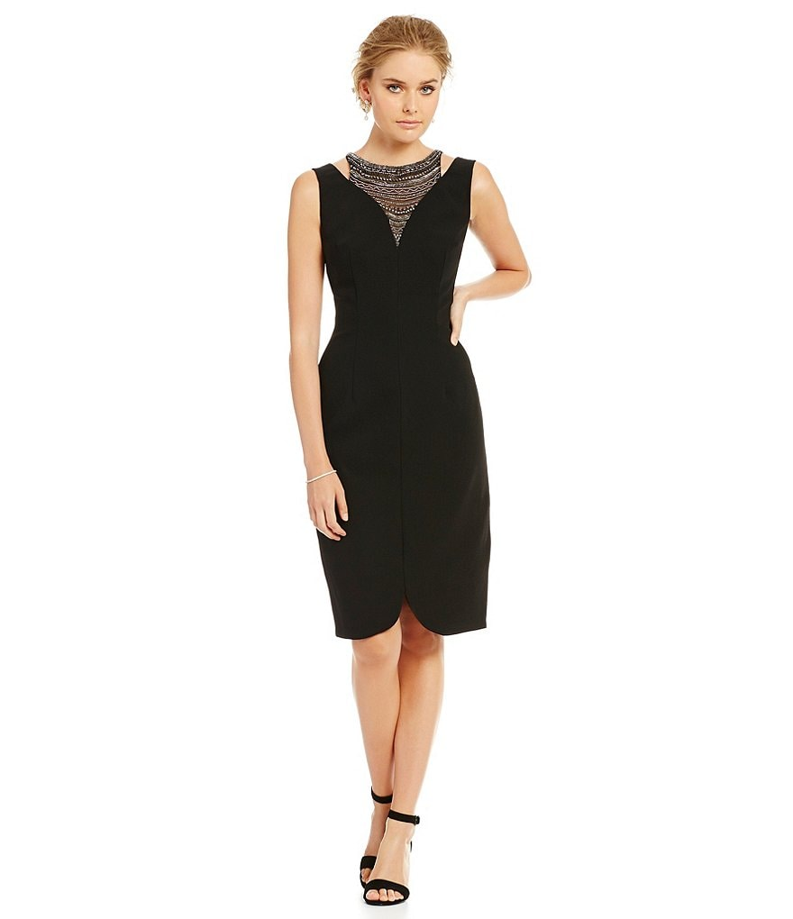 David Meister Beaded Necklace Illusion Sheath Dress