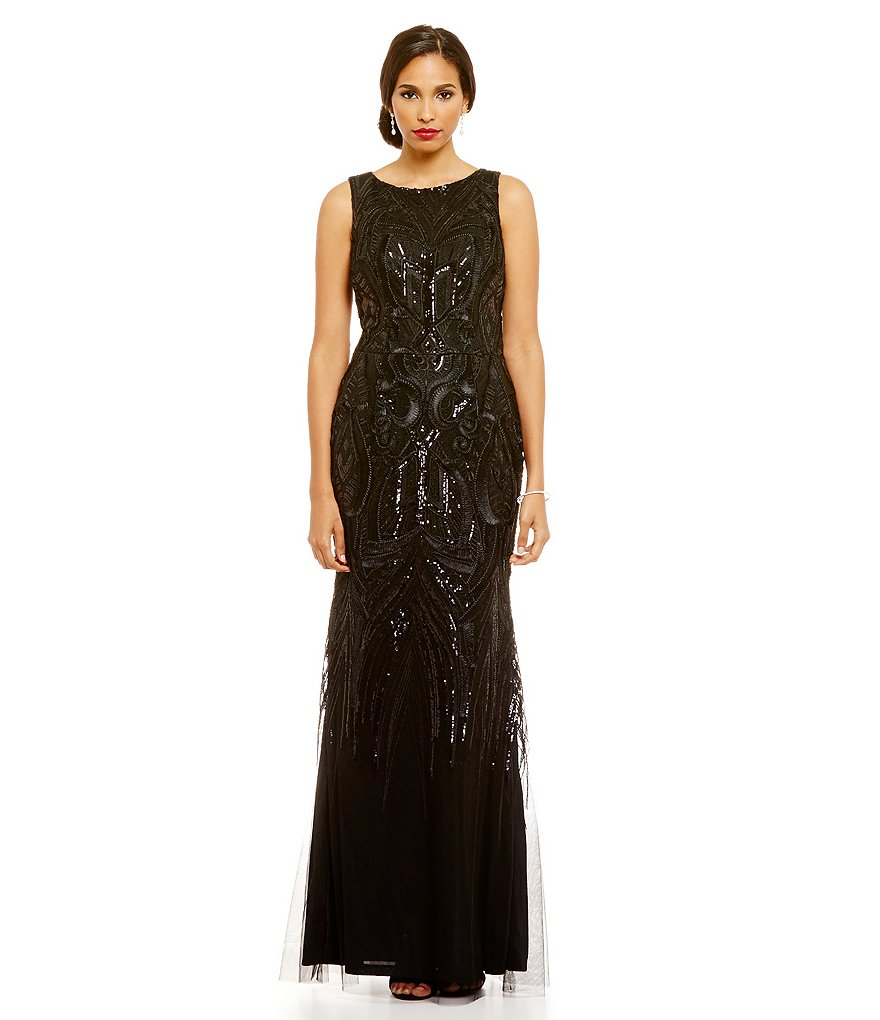 David Meister Sequin Embroidered A-Line Gown