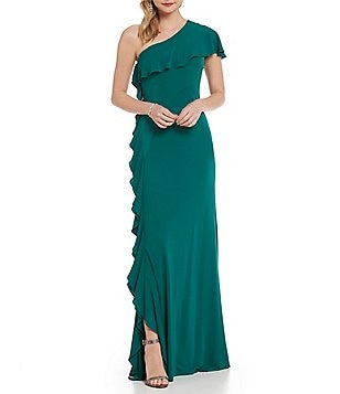 David Meister One-Shoulder Ruffle Gown