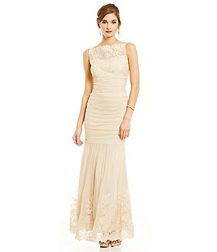 Emma Street Illusion Lace-Yoke Mermaid Gown