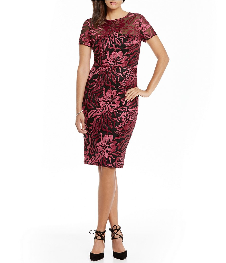 David Meister Embroidered Sheath Cocktail Dress