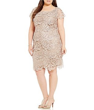 Emma Street Plus Cap-Sleeve Tiered Lace Sheath Dress