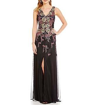 David Meister Embroidered Floral V Neck Gown