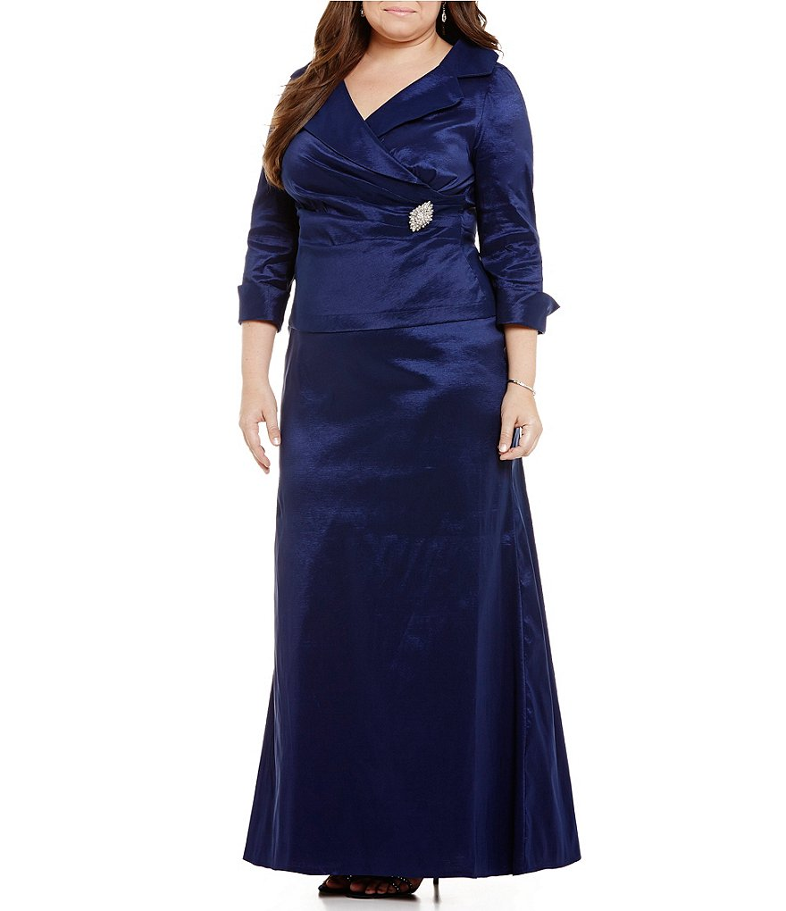 Emma Street Plus Mock 2-Piece Portrait-Collar 3/4 Sleeve Gown