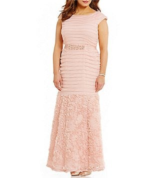 Emma Street Plus Cap-Sleeve Shirred Rosette Gown