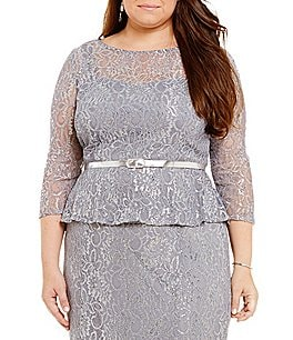 Emma Street Plus Metallic Lace Belted Top Image
