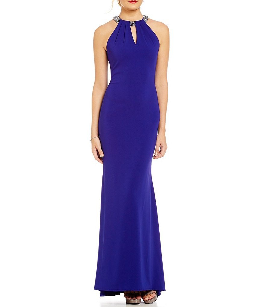 Carmen Marc Valvo Infusion Beaded Halter Keyhole Gown