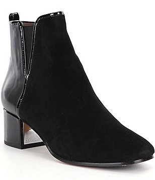 Donald J Pliner Cayto Suede and Leather Block Heel Booties