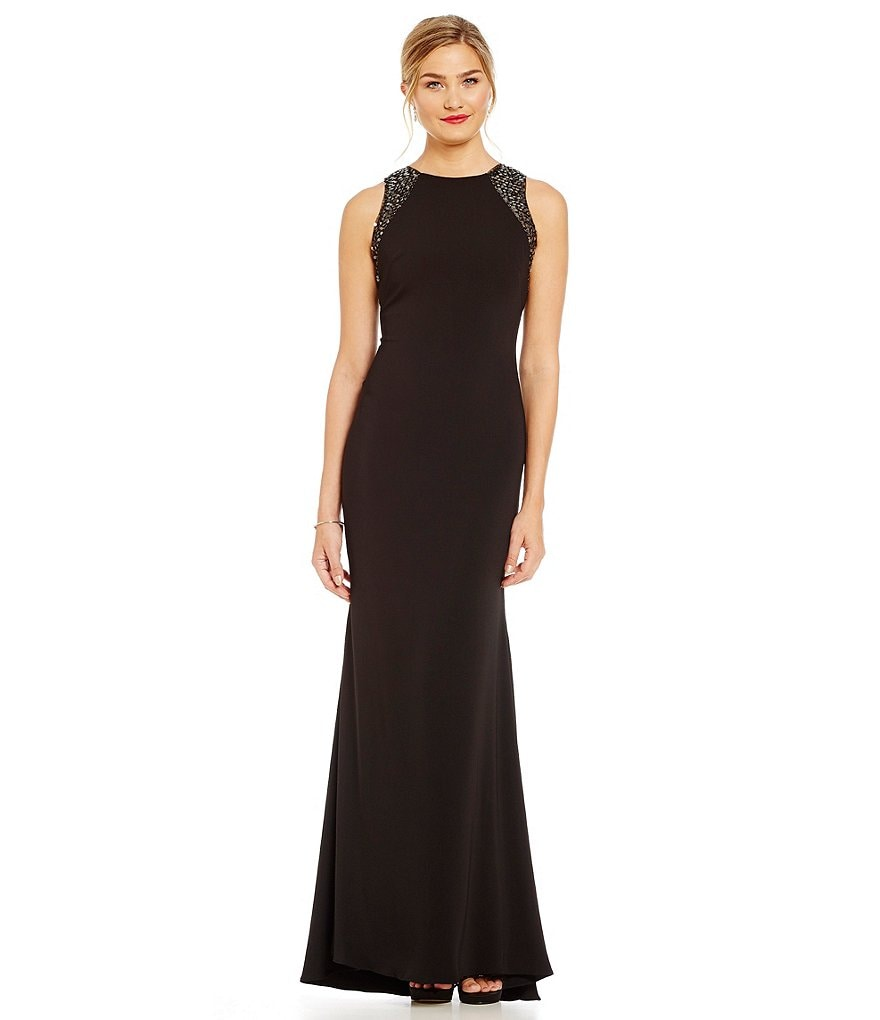 Carmen Marc Valvo Infusion Beaded Shoulder Jersey Gown