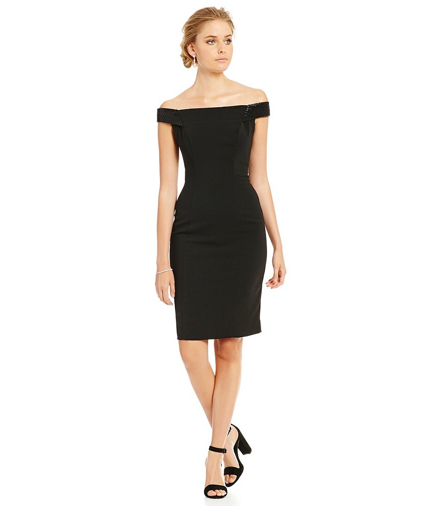 Carmen Marc Valvo Infusion Off-the-Shoulder Sheath Dress