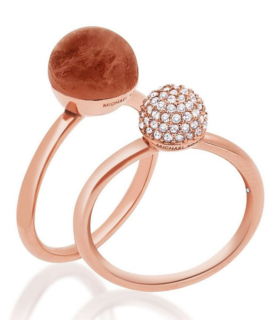 Michael Kors Carnelian & Pavé Stacked Ring Set