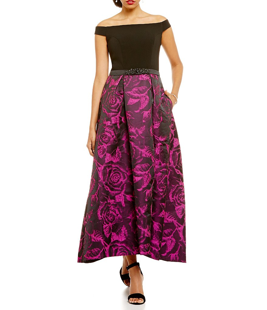 Carmen Marc Valvo Infusion Brocade Off-the-Shoulder Hi-Low Gown
