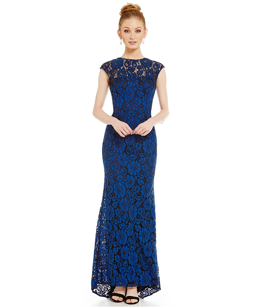 Carmen Marc Valvo Infusion Illusion Neck Lace Gown