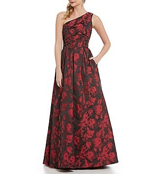 Carmen Marc Valvo Infusion One-Shoulder Jacquard Ball Gown