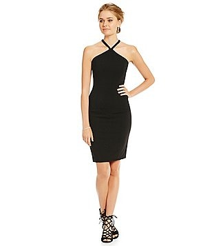 Carmen Marc Valvo Infusion Beaded Halter Neck Shift Dress