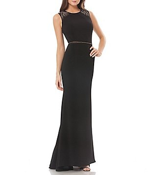 Carmen Marc Valvo Infusion Sequin Crepe Sleeveless Gown