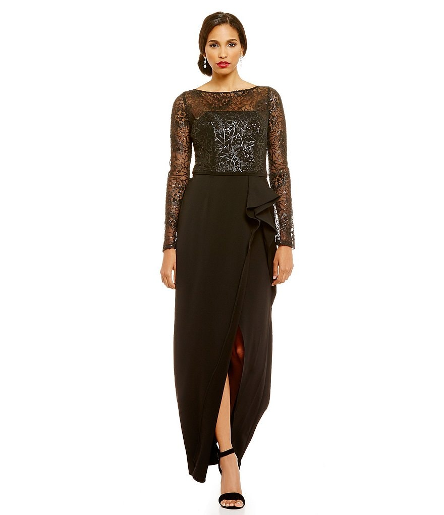 Carmen Marc Valvo Infusion Sequin Lace Bodice Long Sleeve Gown
