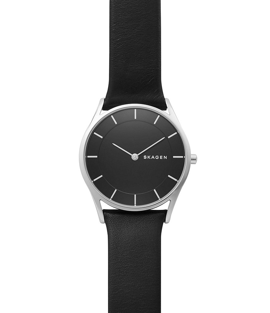 Skagen Holst Stainless Steel Leather Strap 2 Hand Analog Watch