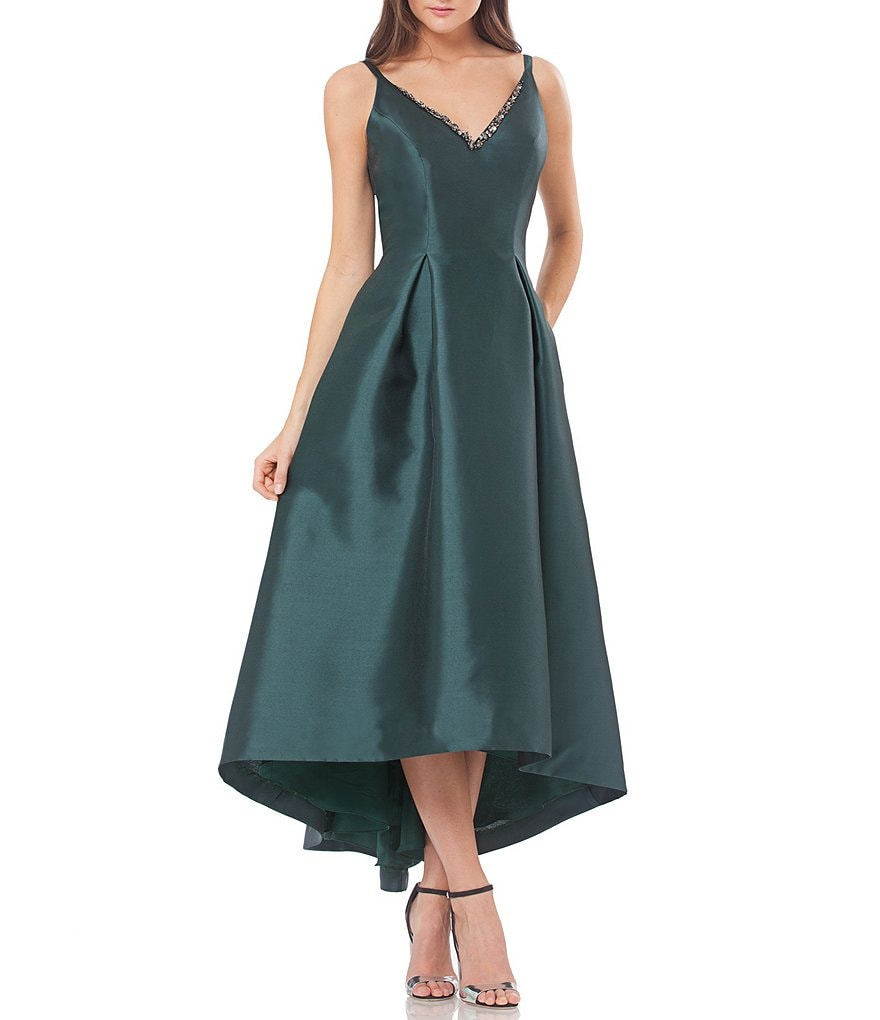 Carmen Marc Valvo Infusion Hi-Lo V-Neck Low Back Sleeveless Gown