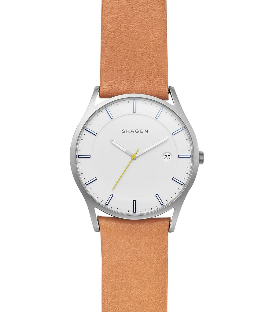 Skagen Holst Stainless Steel Leather Analog Watch