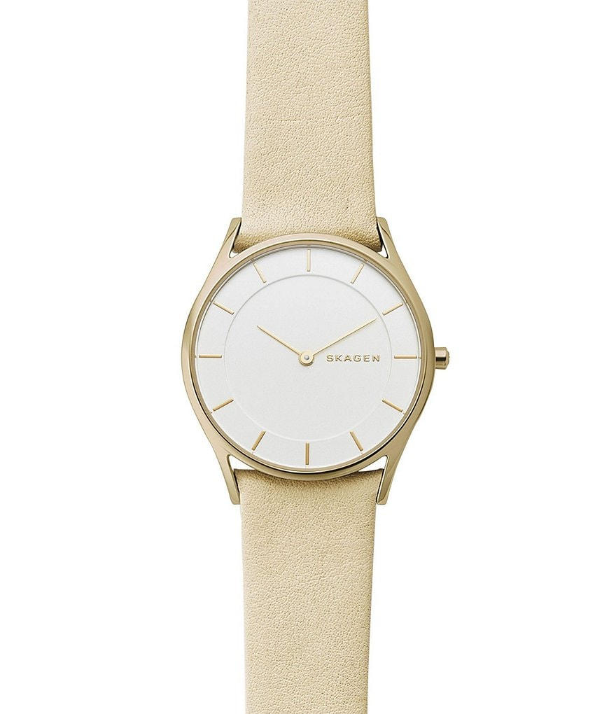 Skagen Holst Leather Strap Stainless Steel Analog Watch