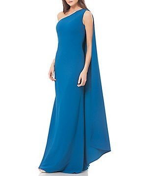 Carmen Marc Valvo Infusion One-Shoulder Cape Gown