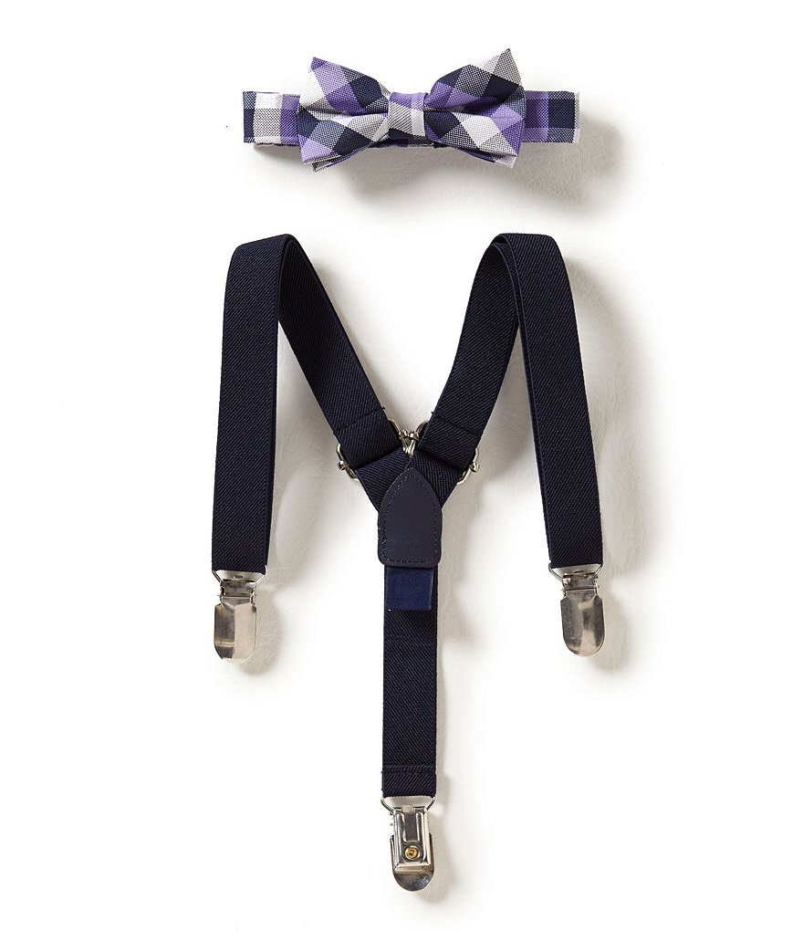 Starting Out Baby Boys Buffalo checkered Bow Tie & Suspender Set