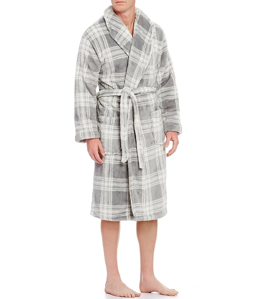 Roundtree & Yorke Plush Plaid Printed Robe